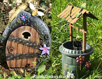 Metal Fairy Door and Wishing Well garden ornaments decorations fairy lover gift