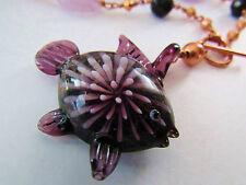 COPPER Beaded Bead Purple Glass Fish Pendant Jade Stone Toggle Clasp Necklace