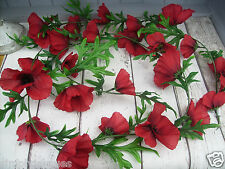 1 Artificial Field Meadow 6ft POPPY GARLAND Decorative Silk Poppies
