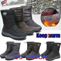 Winter Women Waterproof Mid Calf Boots Snow Shoes Elastic Strap Thermal Comfy US