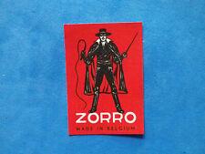 Etiquette d'allumette ancienne 1 matchbox label Belgique Zorro
