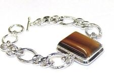 VTG Tigers Eye Bracelet 925 Sterling Silver Toggle 60gr Fancy Curb Round Chain