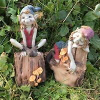 Set of Pixies Sat On Logs Garden Decoration Lawn Ornaments Elf Figures Gifts