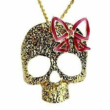 Vintage gold tone skull bow necklace punk goth