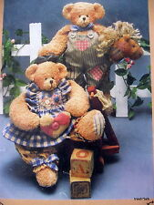 "Homespun at Heart stuffed teddy bear craft pattern 13"" country Bucky Beth"