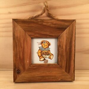"""GARDENING TEDDY BEAR """"Brown"""" Small Wooden Picture Plaque Decorative Wall Art"""