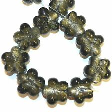 """G1438 Black Silver-Lined Gray 22mm - 26mm Flower Shaped Lampwork Glass Beads 15"""""""