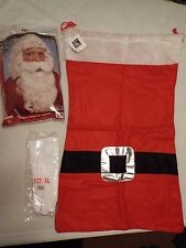 Santa Clause Accessories-St. Nick Curly White Wig & Beard, Toy Sack & Gloves
