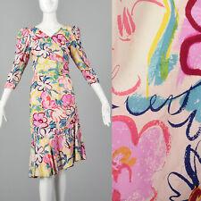 XS 1980s Two Piece Silk Wrap Set Lanvin Pink VTG Floral Ruffle Mermaid Skirt
