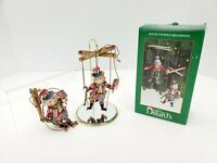 Vtg Trimmings Set of 2 Christmas Cat Marionette Puppet Ornaments In Box Dillards