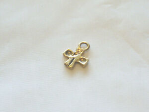 Gold plated pewter small cross charm pendant in gift box
