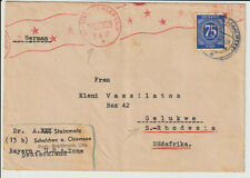 "GERMANY -""MUNICH US. CIVIL CENSORSHIP"" 1947 COVER TO RHODESIA"