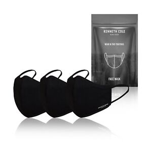 Kenneth Cole Black Face Mask with Filter - Reusable Cotton Face Covers, 3-pack