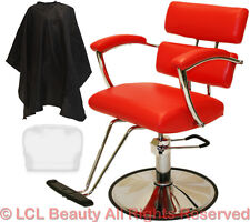 Red Padded Arms Professional Hydraulic Barber Chair Styling Spa Salon Equipment