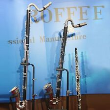 Roffee Clarinet Hard Rubber Body Silver Plated Key Low C Bass Clarinet