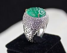 ZAMBIAN EMERALD PEAR CARVED DIAMOND LADIES RING 18K WHITE GOLD