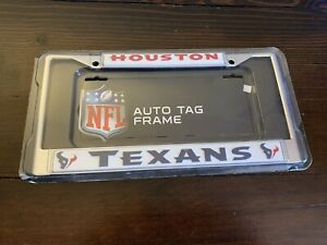 HOUSTON TEXANS NFL Official Chrome Auto License Plate Frame New Open Package