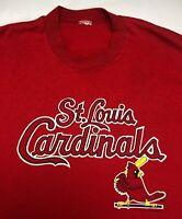 Vintage Mens M/L 1988 80s St. Louis Cardinals MLB Baseball Logo 7 Red T-Shirt