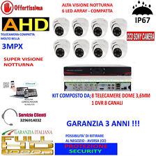 KIT VIDEOSORVEGLIANZA IP CLOUD DVR 8 CH 8 TELECAMERE DOME AHD 3MP 6 LED ARRAY