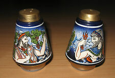 Grecian Ceramic Salt & Pepper Shakers Ancient Greece Souvenir Zeus Gods Goddess