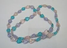 Lovely slightly elasticated heart plastic bead necklace approx 40 cm long