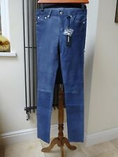 Designer Diesel Blue Leather Skinny Pants Trousers Size 28 New with tag