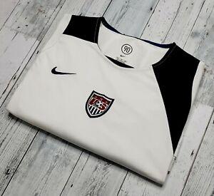 Team USA US NIKE Dri Fit Total 90 White Blue Mens Soccer Football Jersey XXL EUC