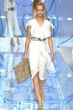 FENDI Womens Off White SILK Layered Petal-Hem Ruffle RUNWAY Skirt S/40