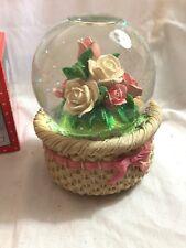 San Francisco Music Box Company Snowglobe Roses in a basket Snow Globe