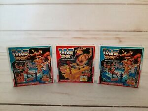 WWF Hasbro Official Wrestling Ring Repro Box Lot 3 Mini 1:12 Blue Red King Ring