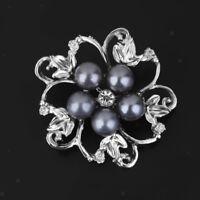 Women Gift Rhinestone Crystal Wedding Bridal Bouquet Flower Pearl Brooch Pin