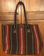 Hartmann Luggage Striped Cotton Leather Tote Bag Handbag Brown Boho Baja Mexico