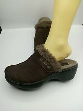 Crocs Womens Mule Style Clogs 11602 Brown Suede Faux Fur Lined Slip-Ons Size 10