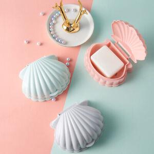 Shell Shape Plastic Soap Box Drain Tray Storage Dish Holder Container Portable