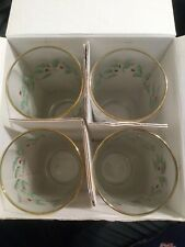 Lenox Holiday Highball Glasses Holly Berry Gold Trim Four Count