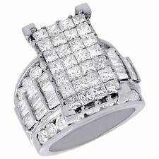 14K White Gold Genuine Princess Diamond Cinderella Wedding Engagement Ring 5 Ct