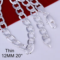 Cool 925Sterling Silver Flat Sideways Strong Men Chain Necklace 12MM 20inch N202