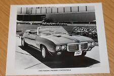 Pontiac Firebird Convertible 1969 Original fotografía de prensa Blanco y Negro