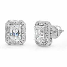 Solid 14k White Gold Screw Back 3.88ct Emerald Cut Halo Stud Solitaire Earrings