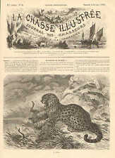 Jaguar, Confronts Snake, Antelope Lunch, Vintage 1878 French Antique Art Print