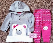NWT Girl's Size 12 M Months 2 Pc Nannette Gray Bear Hoodie Top & Pink Leggings