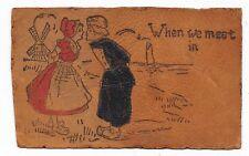 ANTIQUE UDB LEATHER POSTCARD DUTCH CHILDREN BOY GIRL WINDMILL SAILBOAT LAKE 1907