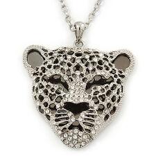 Exotic Diamante 'Tiger' Pendant In Rhodium Plating - 74cm Length/ 9cm Extension