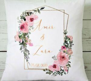 "Personalised Wedding geometric pink rose - 16"" cushion cover Mr/Mrs/anniversary"