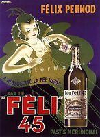 Absinthe Feli 45 La Fee Verte 1930 Vintage Poster Print Art Advertisement