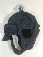 NEW MUK LUKS Knit TRAPPER HAT MENS GRAY BLACK