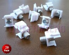 20 x F Insert Keystone Jack Wall Plate Cable SAT TV Coax Connector Adapter White