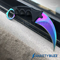 TACTICAL COMBAT KARAMBIT NECK KNIFE Survival Hunting BOWIE Fixed Blade RAINBOW