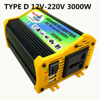 3000W Converter Power Inverter DC 12V to AC 220V Boat Car Solar USB Charger New