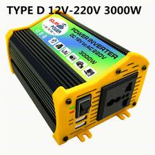 1X Car 3000W Converter Power Inverter DC 12V to AC 220V Solar 2 USB 60Hz